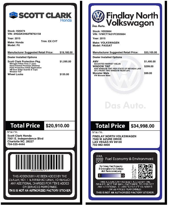Addendum system for car dealers dealeraddendums inc for Used car window sticker template